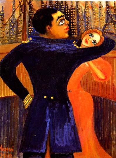 Nahui y Agacino bailando en la proa del barco Habana, en Nueva York