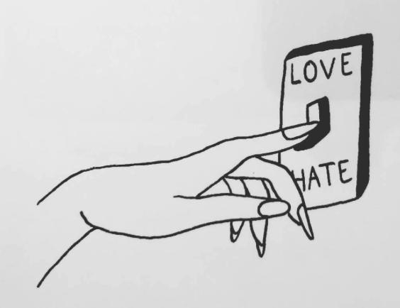 amor y odio ilustraciones para tatuajes