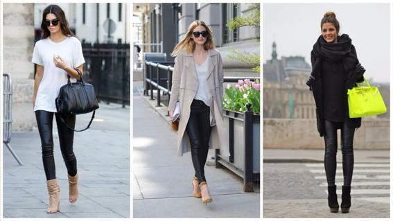 moda 2017 leather leggins
