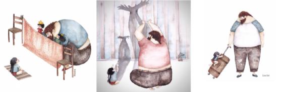 ilustraciones relacion padre e hija