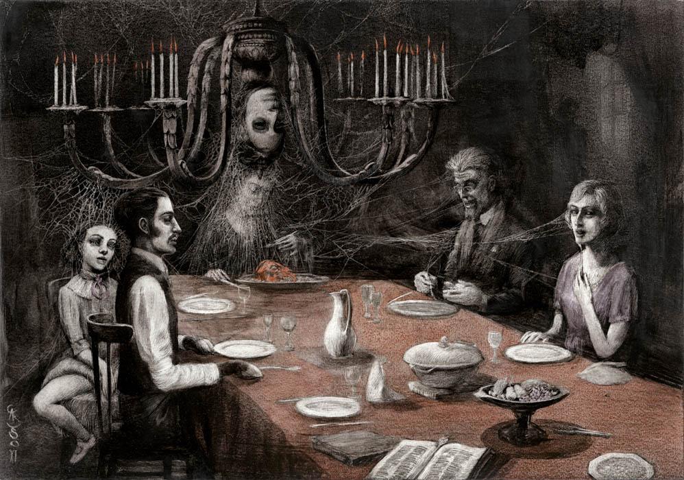 ilustraciones goticas cena