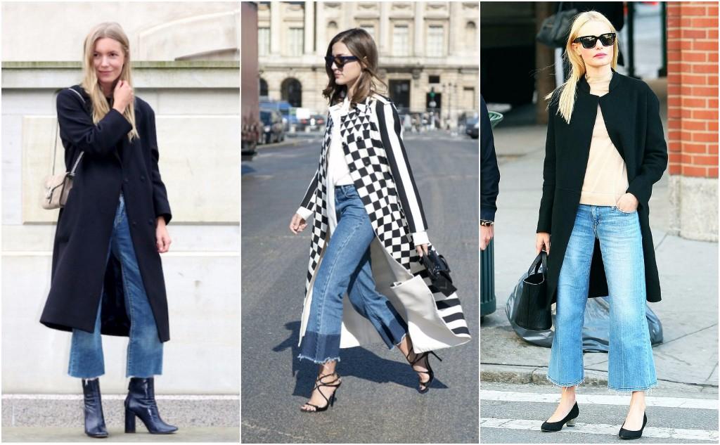jeans acampanados long coat