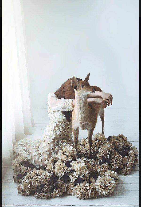 sad girl photography deer