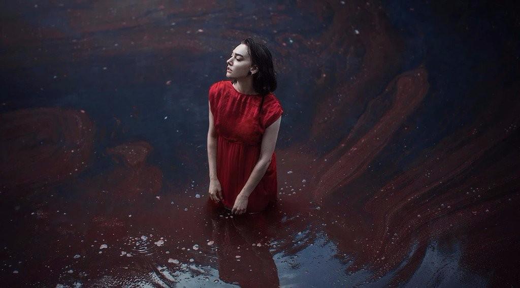sad girl photography red dress