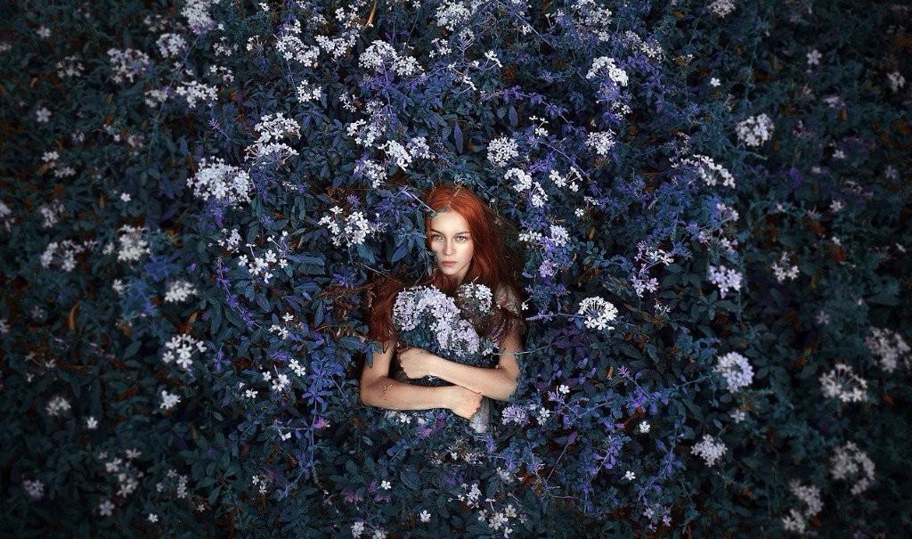 sad girl photography red hair