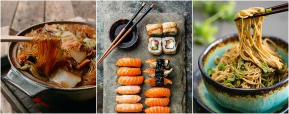 comida japonesa palillos
