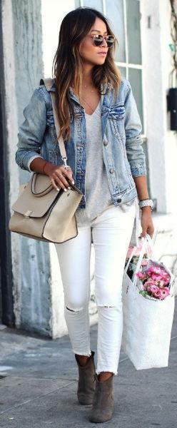 como usar jeans con estilo blanco compras