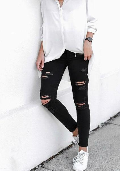 como usar jeans con estilo ripped blanco