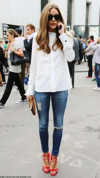 como usar jeans con estilo ripped camisa