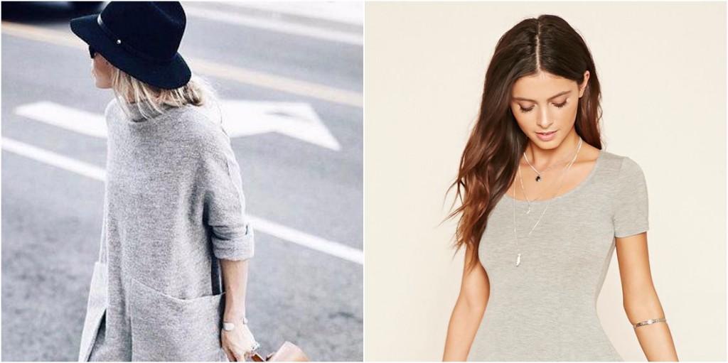 look minimalista vestido gris