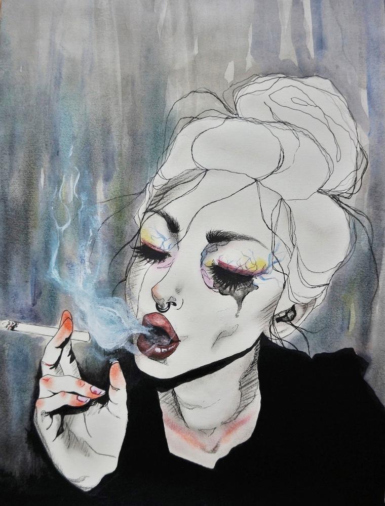mujeres tristes fumando