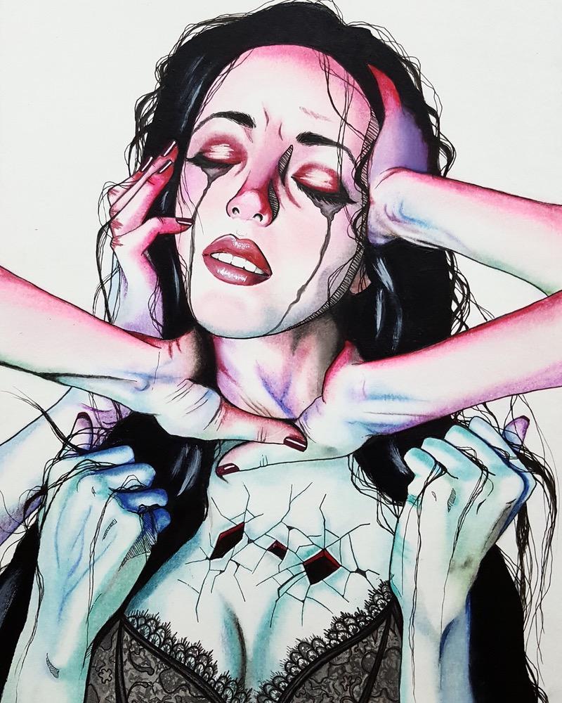 mujeres tristes manos