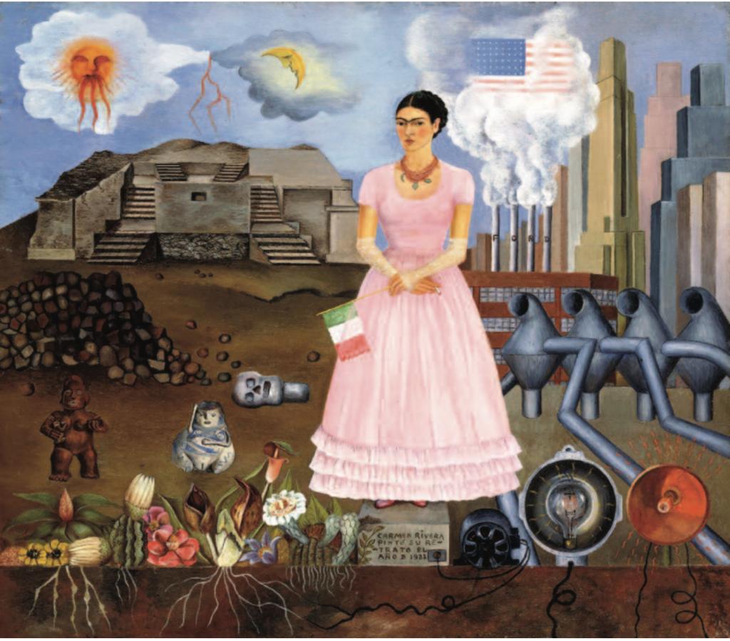 Frida Kahlo, Autorretrato en la frontera entre México y Estados Unidos, 1932; Óleo sobre metal, 31.8 x 34.9 cm.   Colección María y Manuel Reyero, Nueva York.