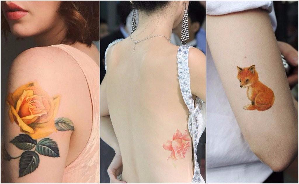 runway model tattoos colorful