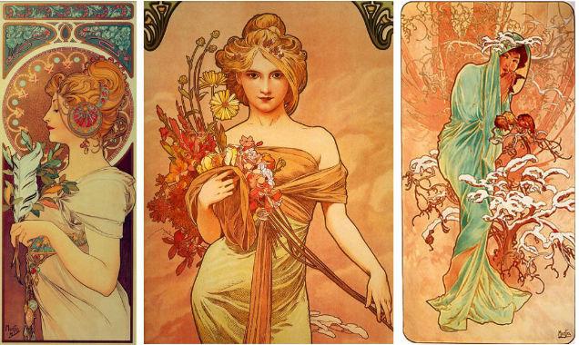 Art Noveau Women Mucha Goddesses-w636-h600