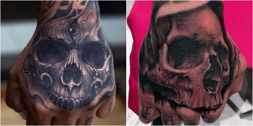 Tatuaje mano calavera