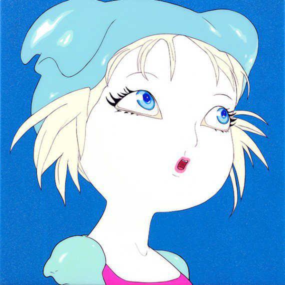 Candy Girl Doe Eyed Illustrations Ice Blue-w636-h600