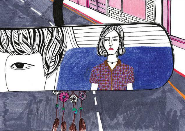 Debbie Woo Healing Broken Heart Illustrations car mirror-w636-h600