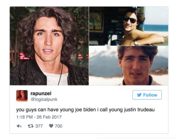 Justin Trudeau as a woman long hair-w636-h600