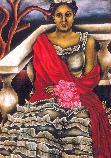 María Izquierdo Mexican painter red shawl-w636-h600