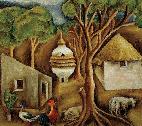 María Izquierdo Mexican painter rooster-w636-h600