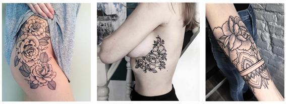 tatuajes de rosas muslo, costillas y antebrazo