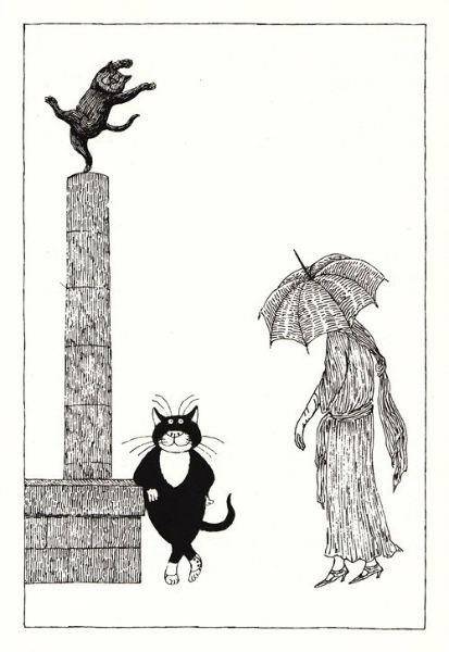 Tim Burton Edward Gorey  Cat-w636-h600