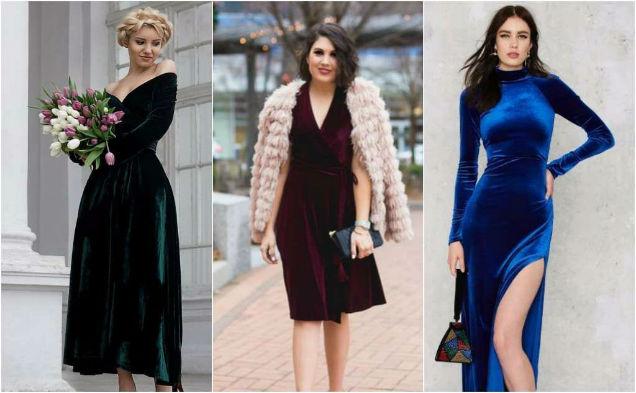 Velvet Fabric Year Round Evening Wear-w636-h600