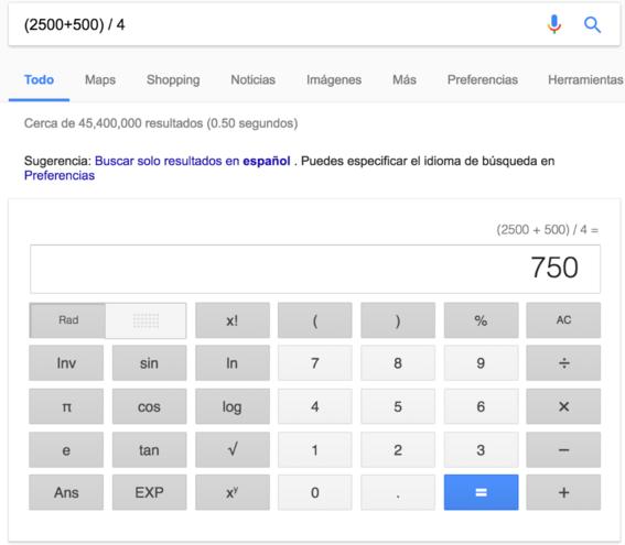 calculadora trucos de google