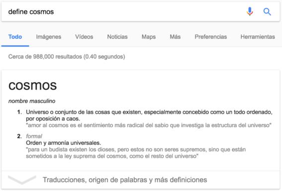 tips definiciones en google