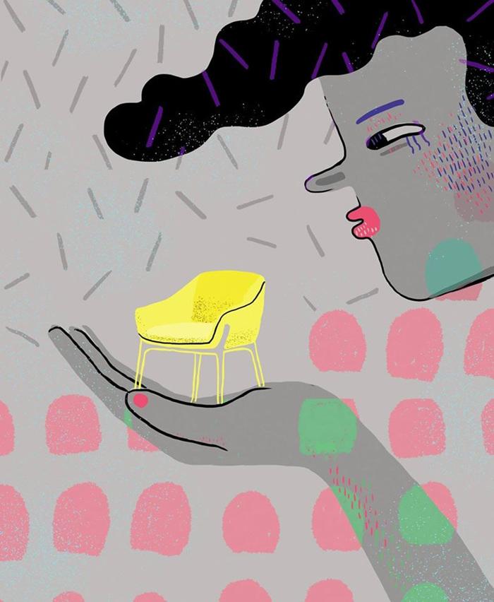 gigante silla ilustraciones sarcasticas