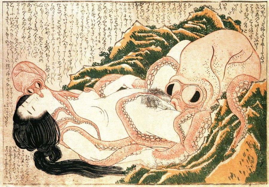 masturbacion femenina en obras de arte hokusai