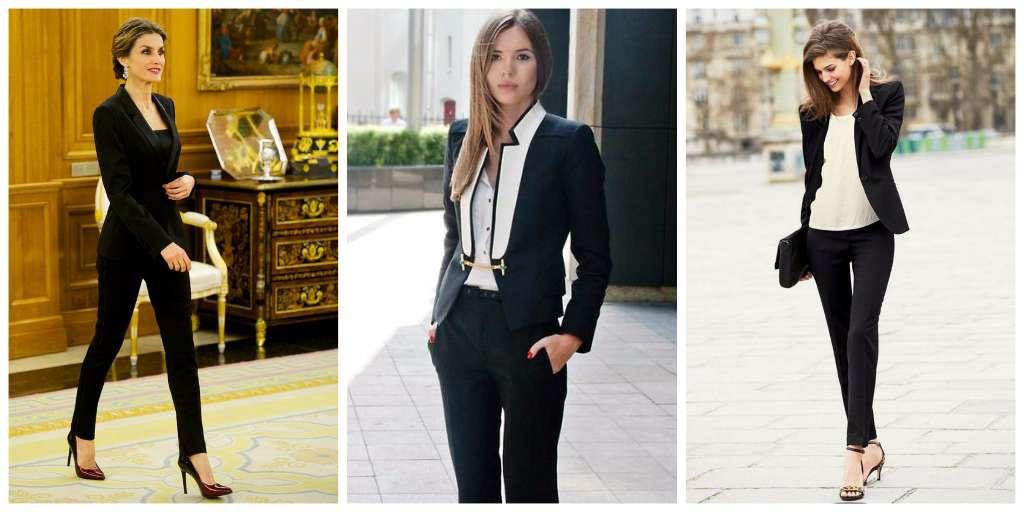 prendas mujer empoderada traje negro