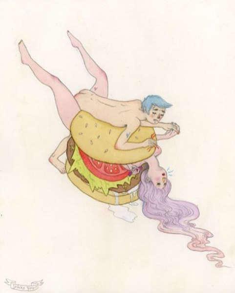 ilustraciones de debilidades humanas sex burguer