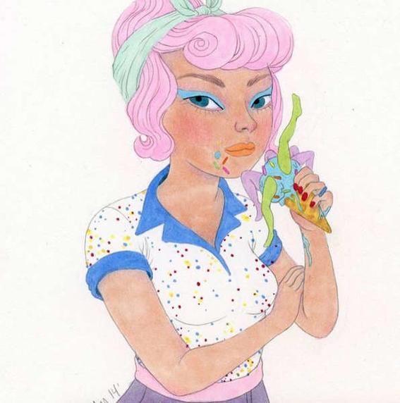 ilustraciones de debilidades humanas ice cream