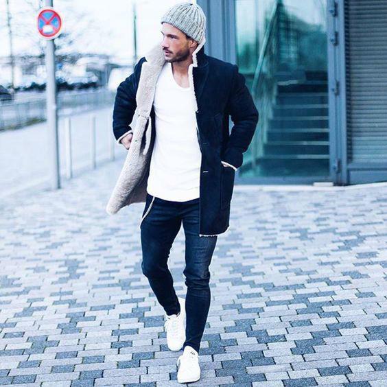 como usar tenis hombre jeans coat