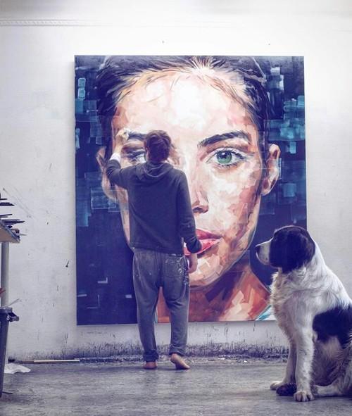 lienzo como pinta un artista