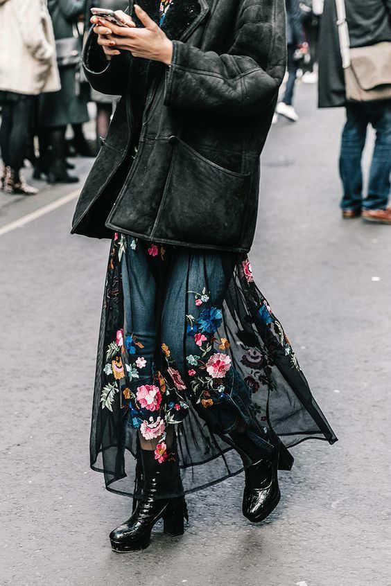 outfits con faldas maxifalda   -w800