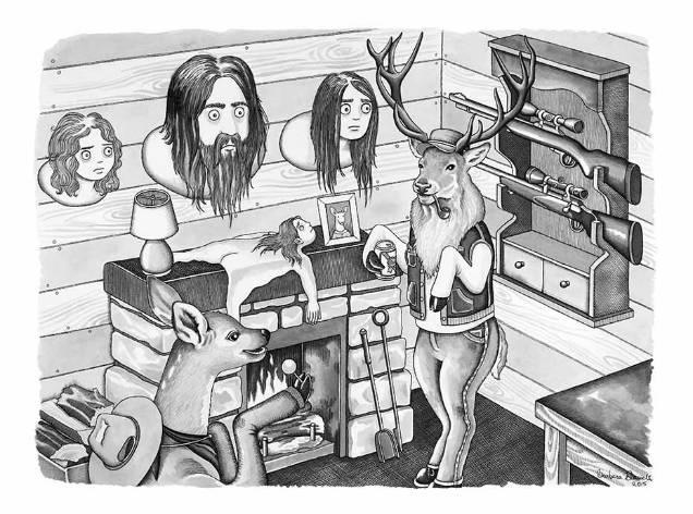 Barbara Daniels dark illustrations animal rights deer hunter