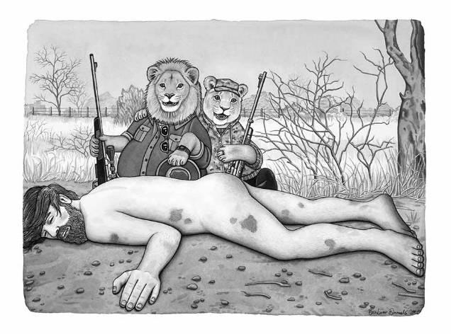 Barbara Daniels dark illustrations hunting