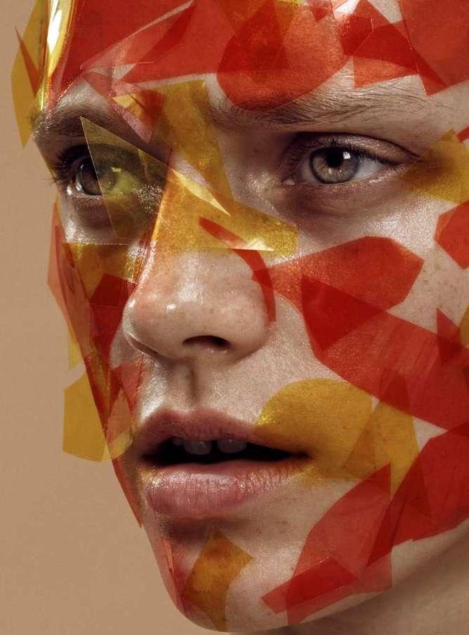 La serie fotográfica chica recortes anaranjados