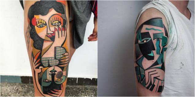 Peter Aurisch cubist tattoos blue faces-w636-h600