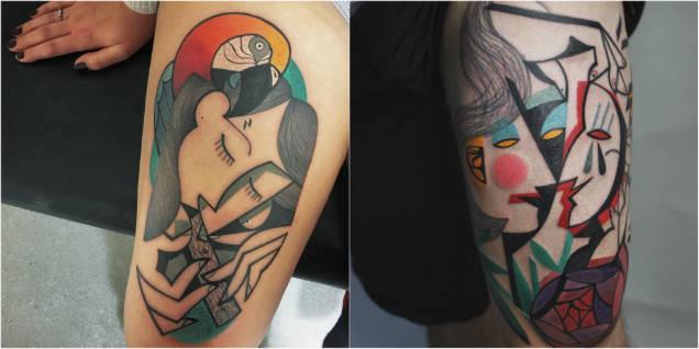 Peter Aurisch cubist tattoos parrot faces-w636-h600