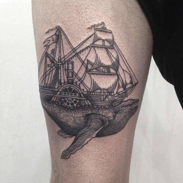 ballena tatuajes de barcos