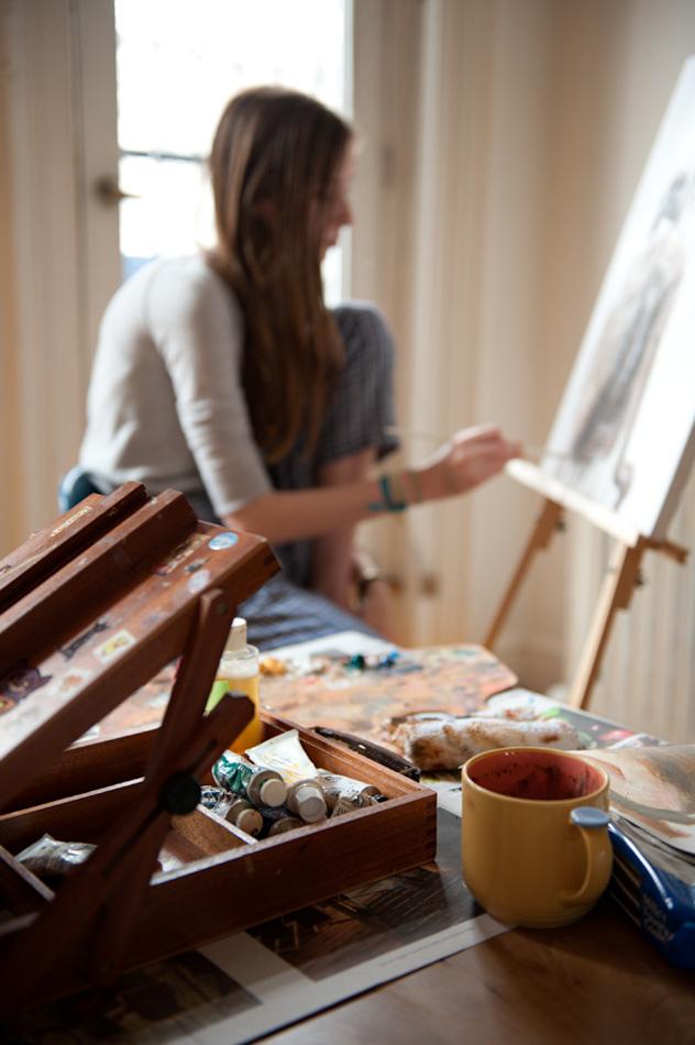 Resultado de imagen de gente pintando cuadros