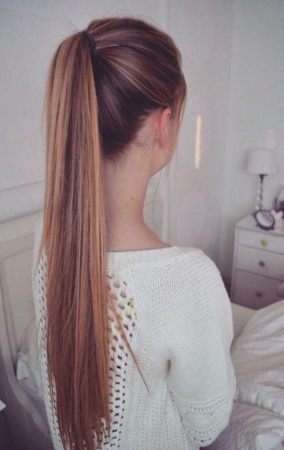 formas de llevar cabello lacio coleta alta