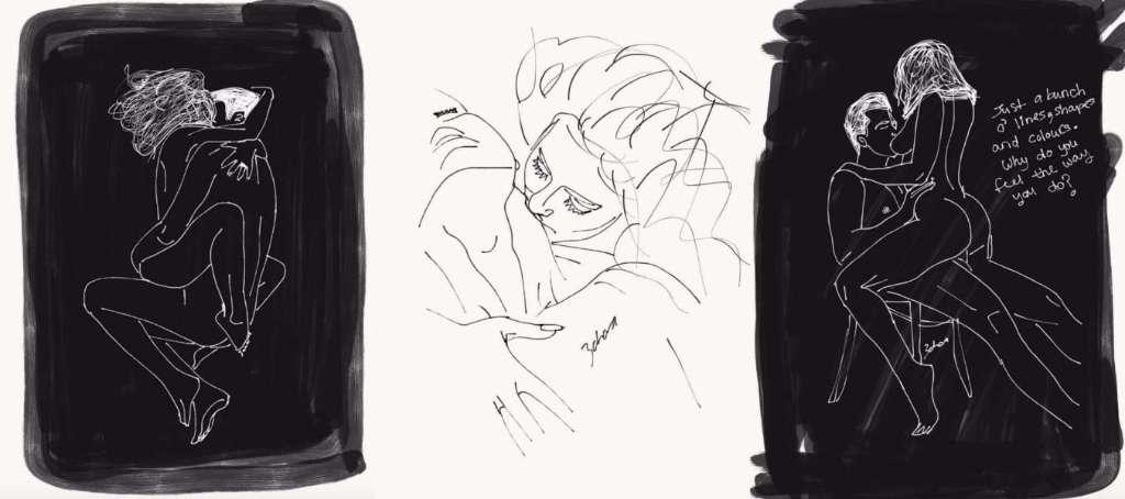 ilustraciones de lo que disfruta una mujer en la cama abrazo-h600