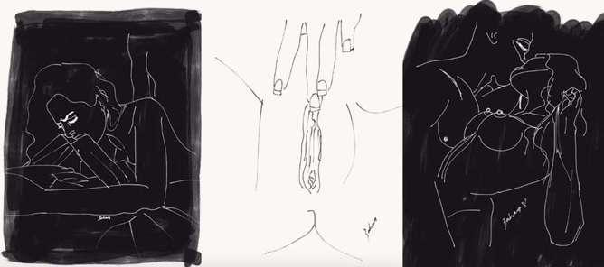 ilustraciones de lo que disfruta una mujer en la cama beso-h600