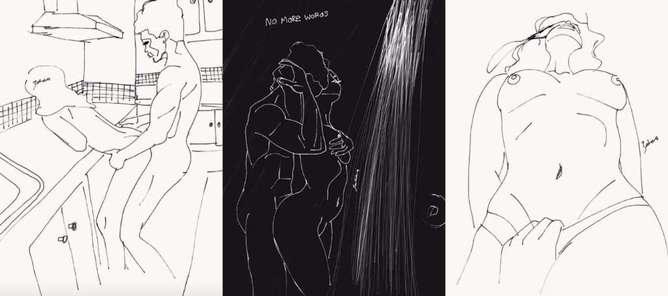 ilustraciones de lo que disfruta una mujer en la cama ducha-h600