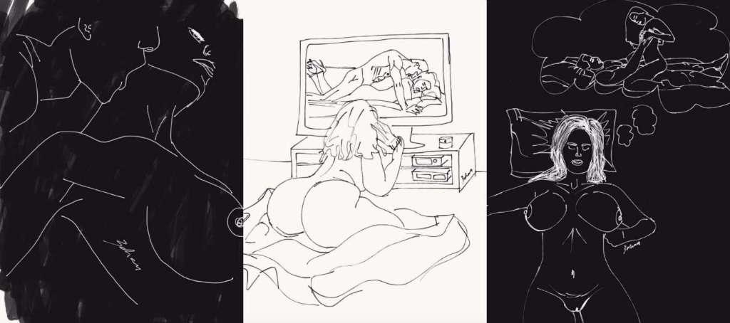 ilustraciones de lo que disfruta una mujer en la cama porno-h600